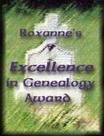Roxanne's Excellence in Genealogy Award Logo